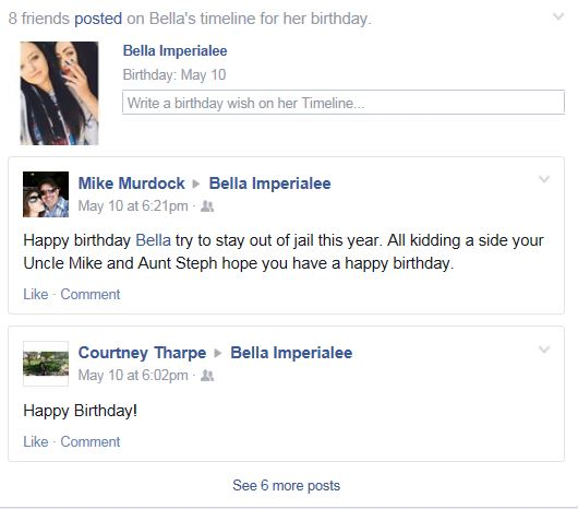 Bella Jail Birthday Comment